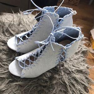 Beautiful denim lace up heels